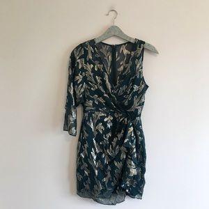 BCBG MaxAzria   Metallic Faux Wrap Dress Floral